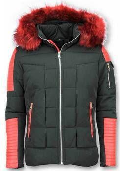 Rode Winterjas.Donsjas Enos Rode Bontjas Zwarte Winterjas Winterjas Heren Nep