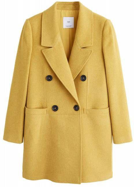 Mango wollen coat met ceintuur brique Jassenshoponline.nl