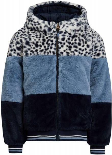 WE Fashion reversible imitatiebont winterjas lichtblauw/donkerblauw/wit online kopen